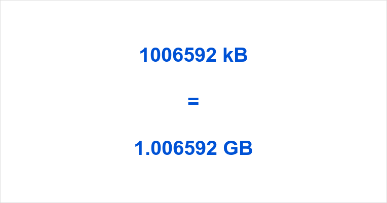 1006592 kB to GB