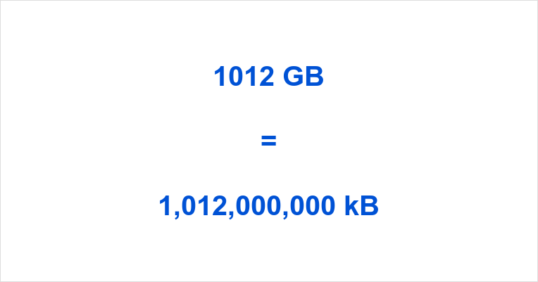 1012 GB to kB