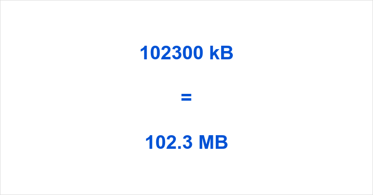 102300 kB to MB
