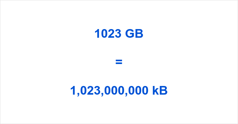 1023 GB to kB