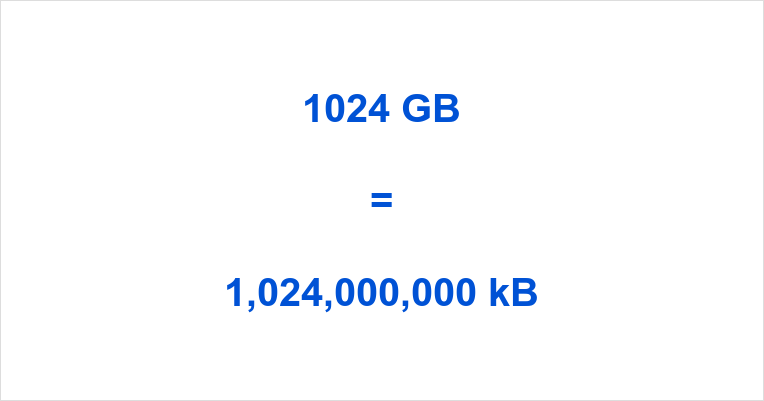 1024 GB to kB