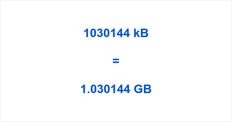 1030144 kB to GB
