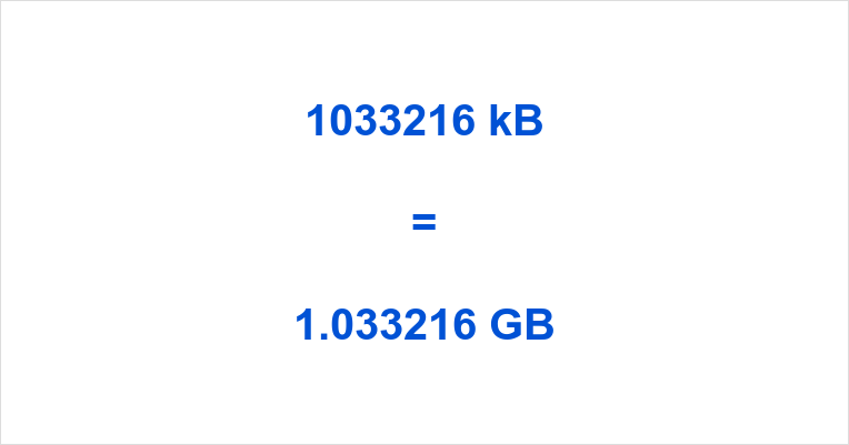 1033216 kB to GB