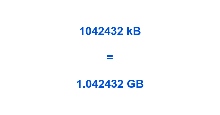 1042432 kB to GB