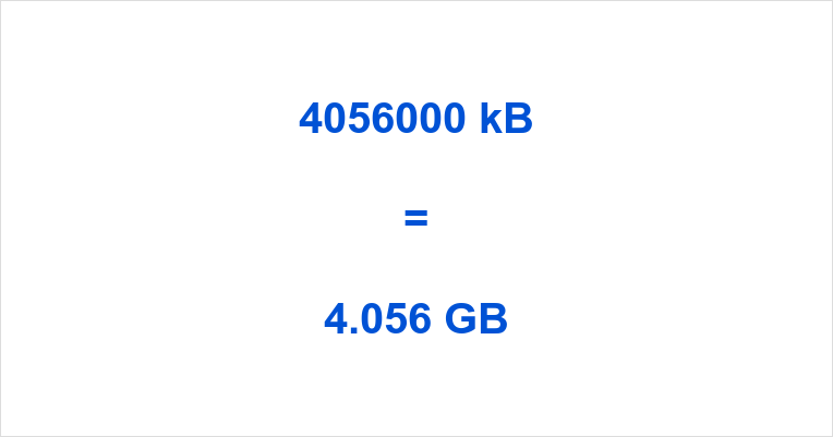 4056000 kB to GB