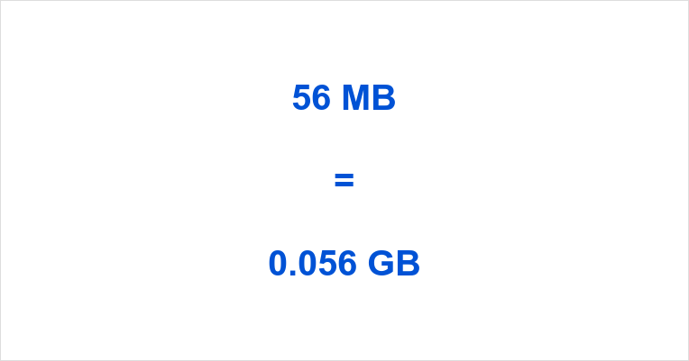 56 MB Equals How Many GB You Know Already But Can Read On To Learn Much Is In Other Multiples Of Bytes