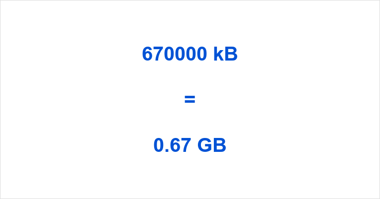 670000 kB to GB