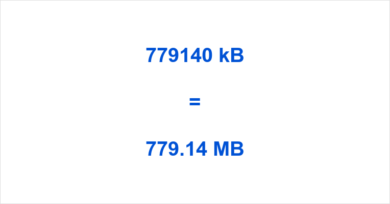 779140 kB to MB