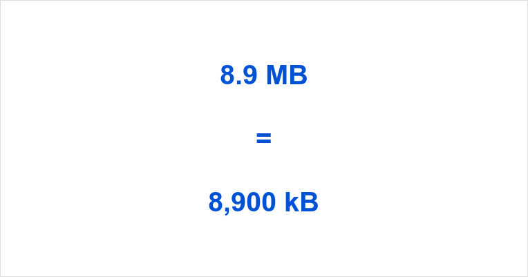 8.9 MB to kB