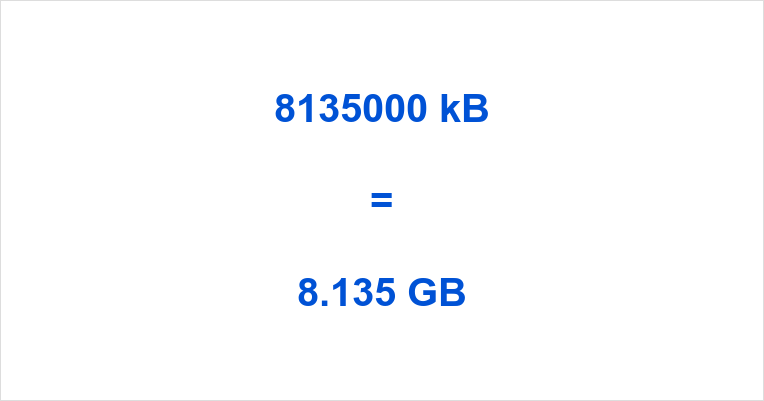 8135000 kB to GB