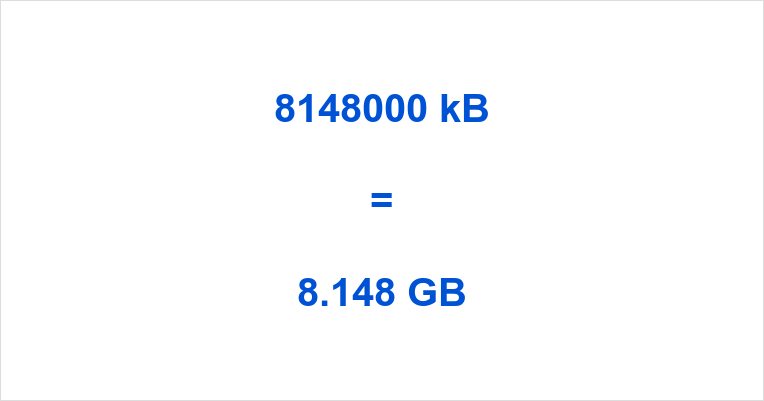 8148000 kB to GB