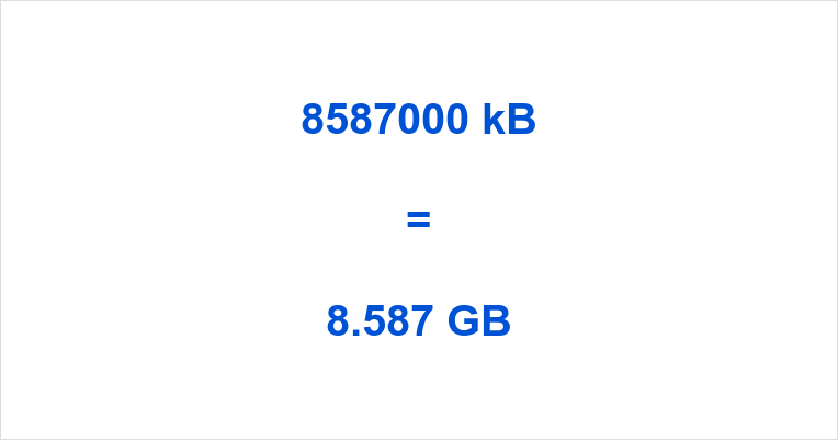 8587000 kB to GB