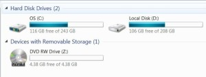 Disk Capacity on Windows 7